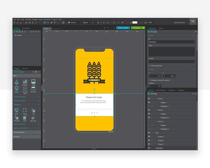 Simple navigation - mockup design - Justinmind