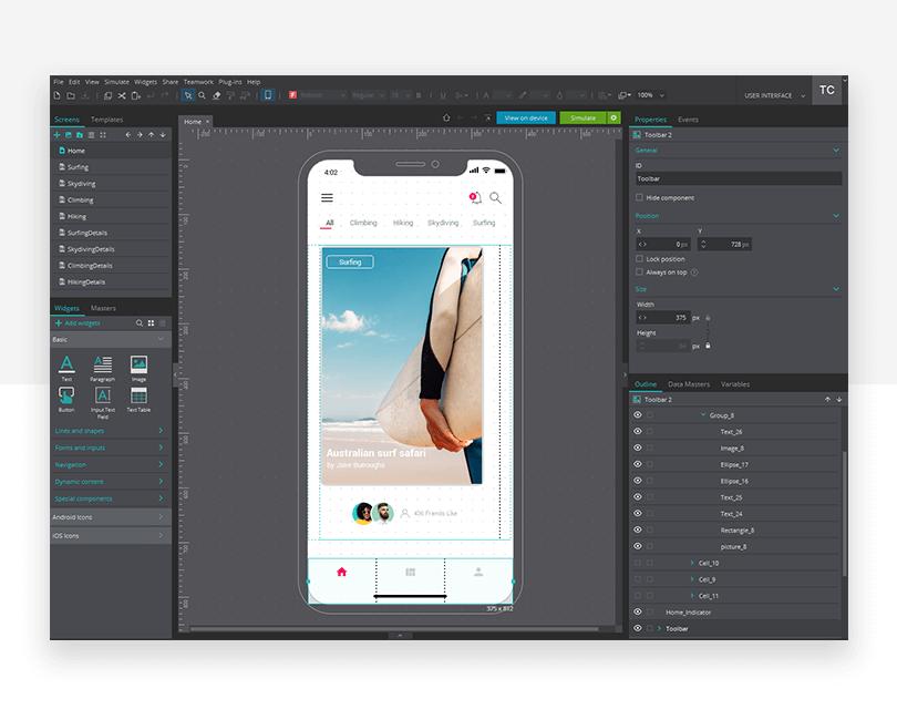 Navigation interaction - mockup design - Justinmind