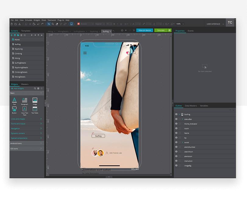 Different screens - mockup design - Justinmind