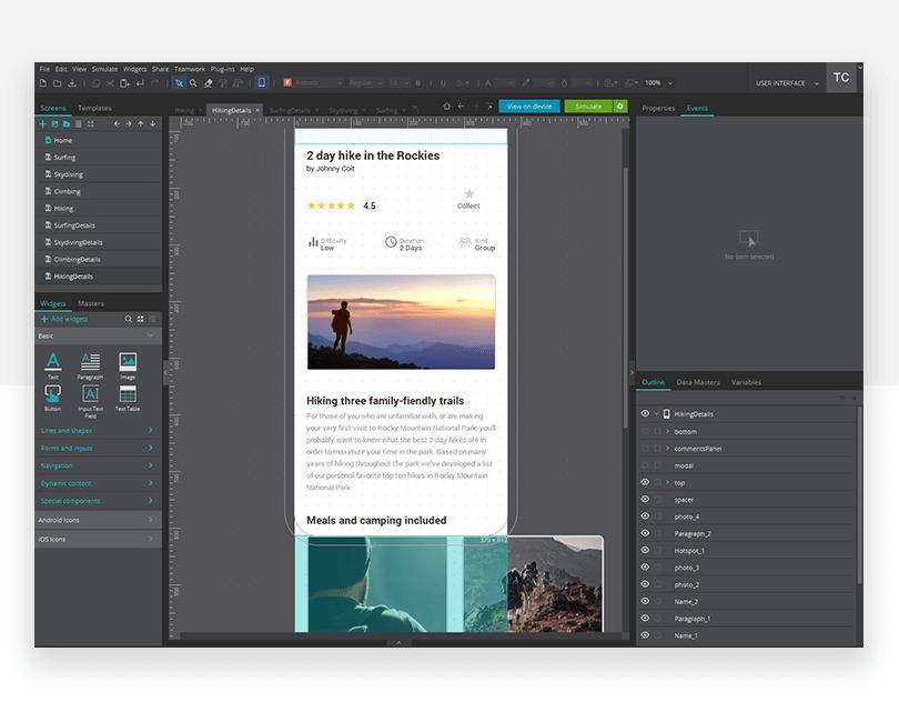 Scrolling page - mockup design - Justinmind