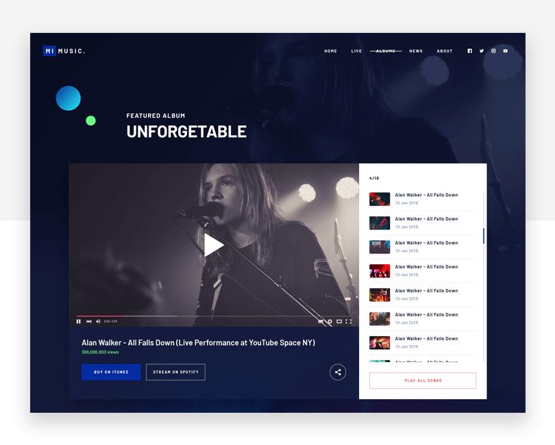 Music Website - free responsive website mockup template - Justinmind