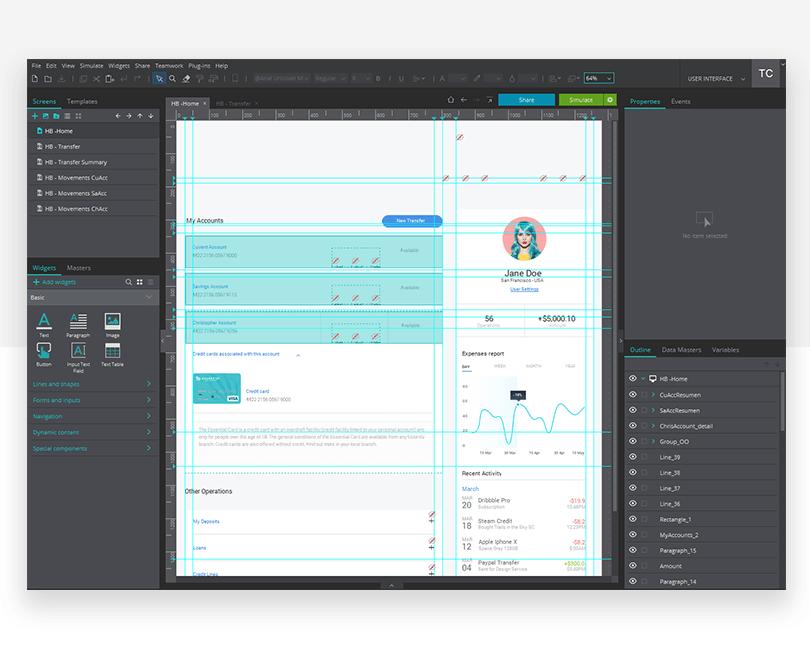 Website mockup design - Justinmind