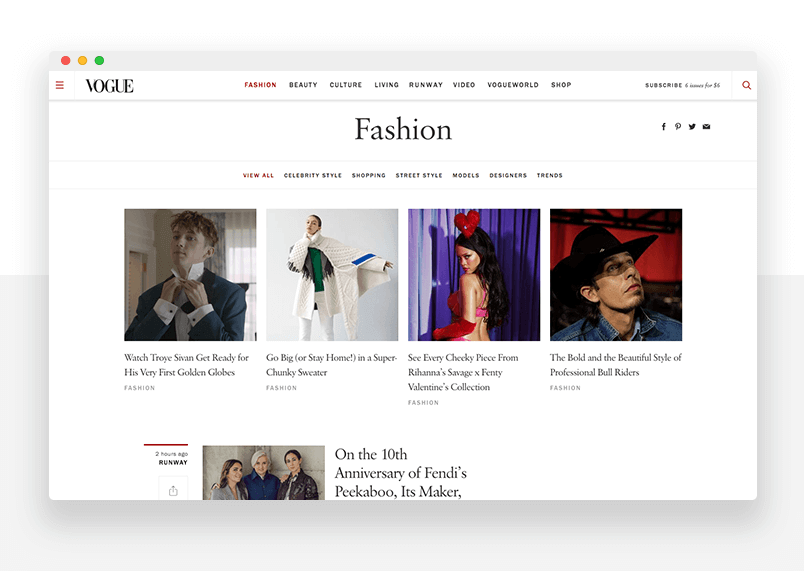 Example of Bootstrap web design - Vogue - Justinmind