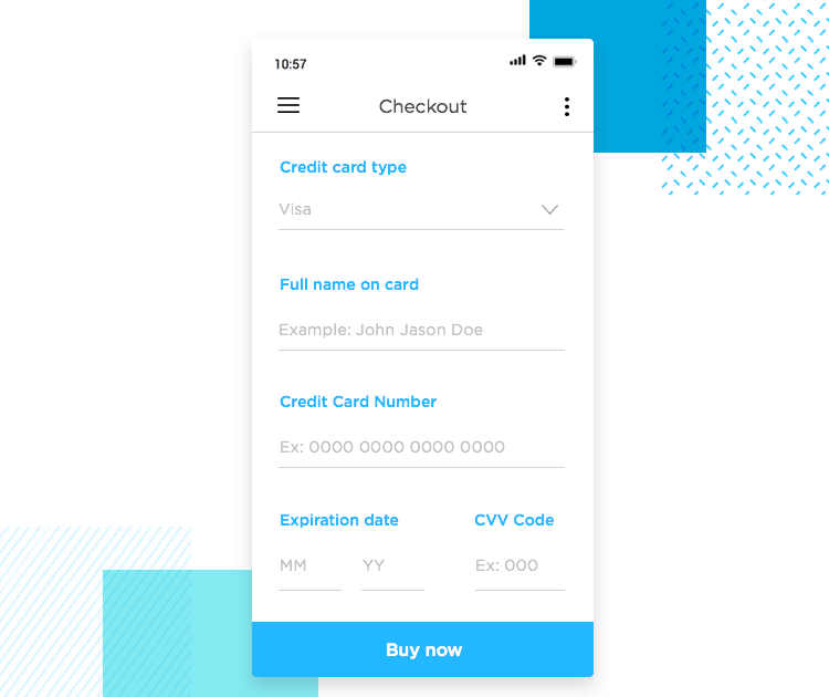 example of app form design with masks and limiters in field entries