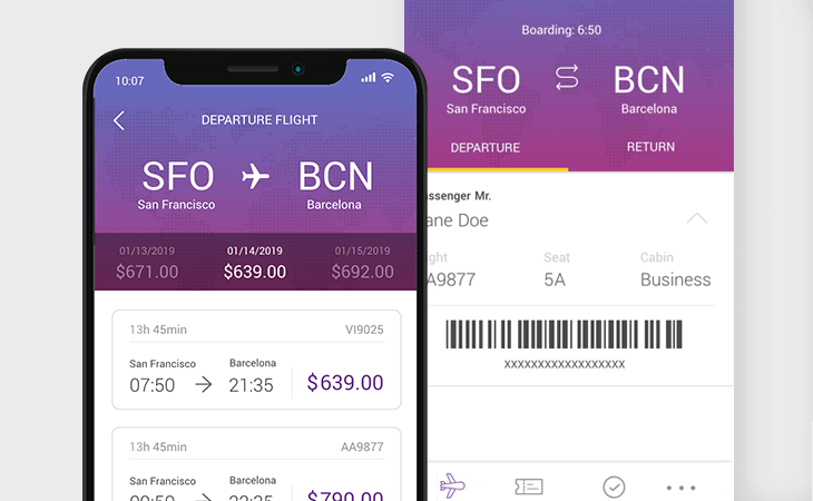 Flight booking mobile app design