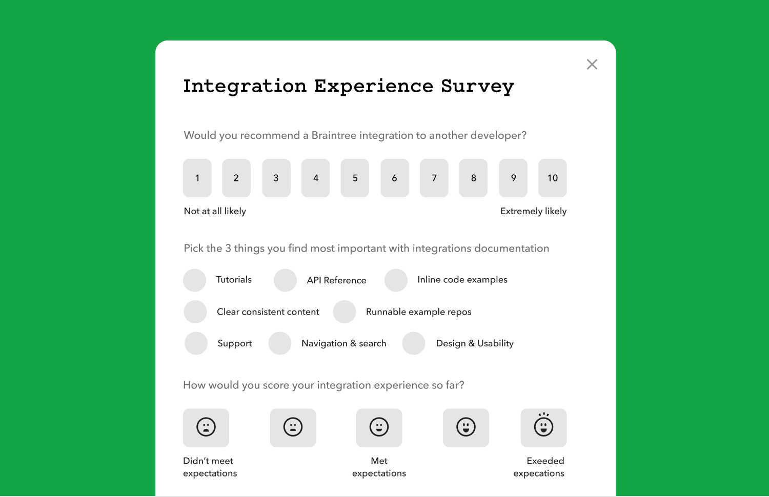 customer satisfaction form example from braintree