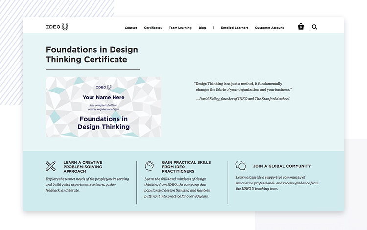 IDEO design thinking course website header