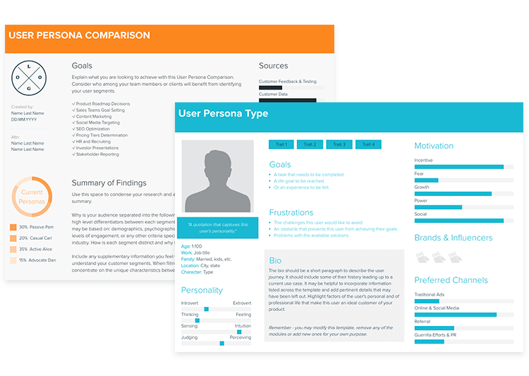 design thinking tool for user personas: xtensio