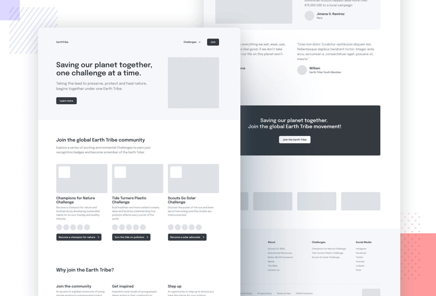 example of wireframe by earth tribe