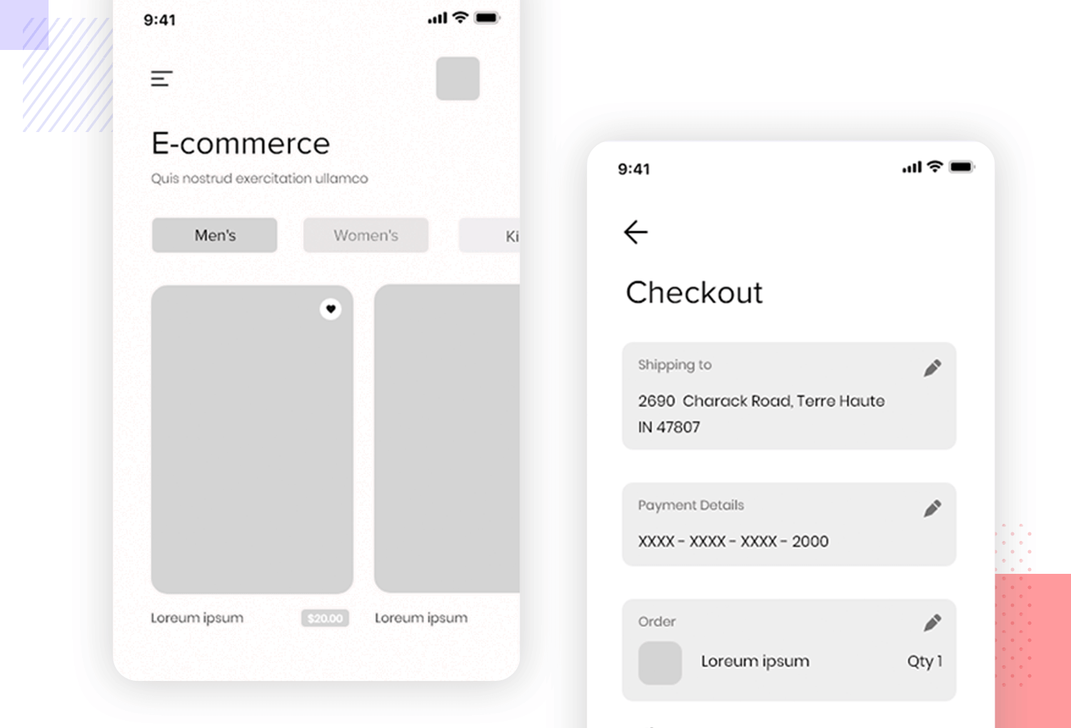 example of low fidelity app wireframe