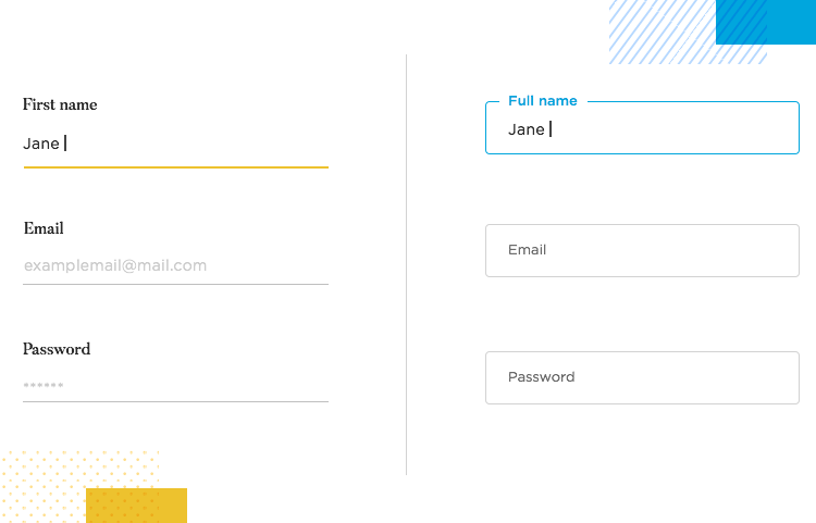 showcase of two styles of field input focus in web form design