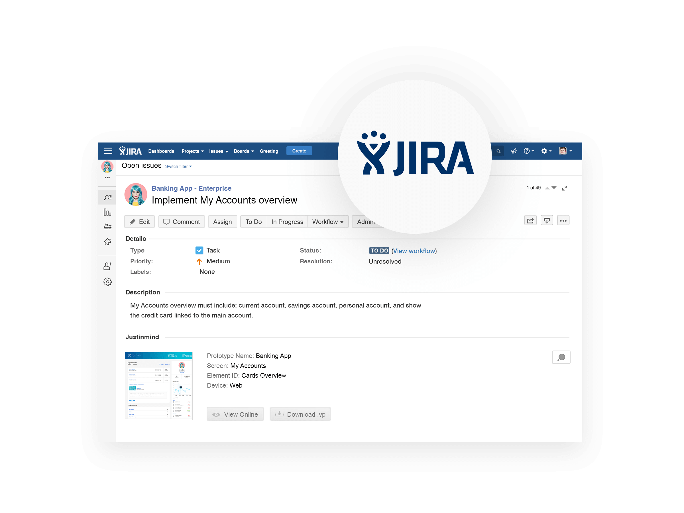 Import and export tasks between Justinmind and JIRA