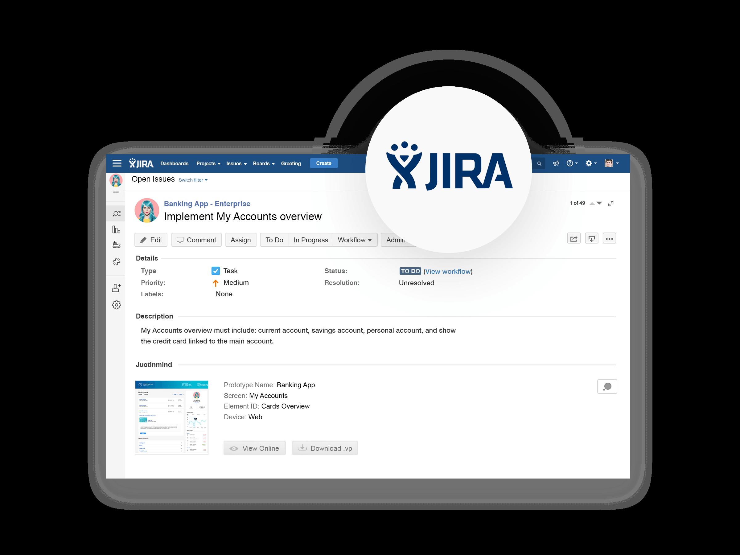 Import and export tasks between Justinmind and JIRA