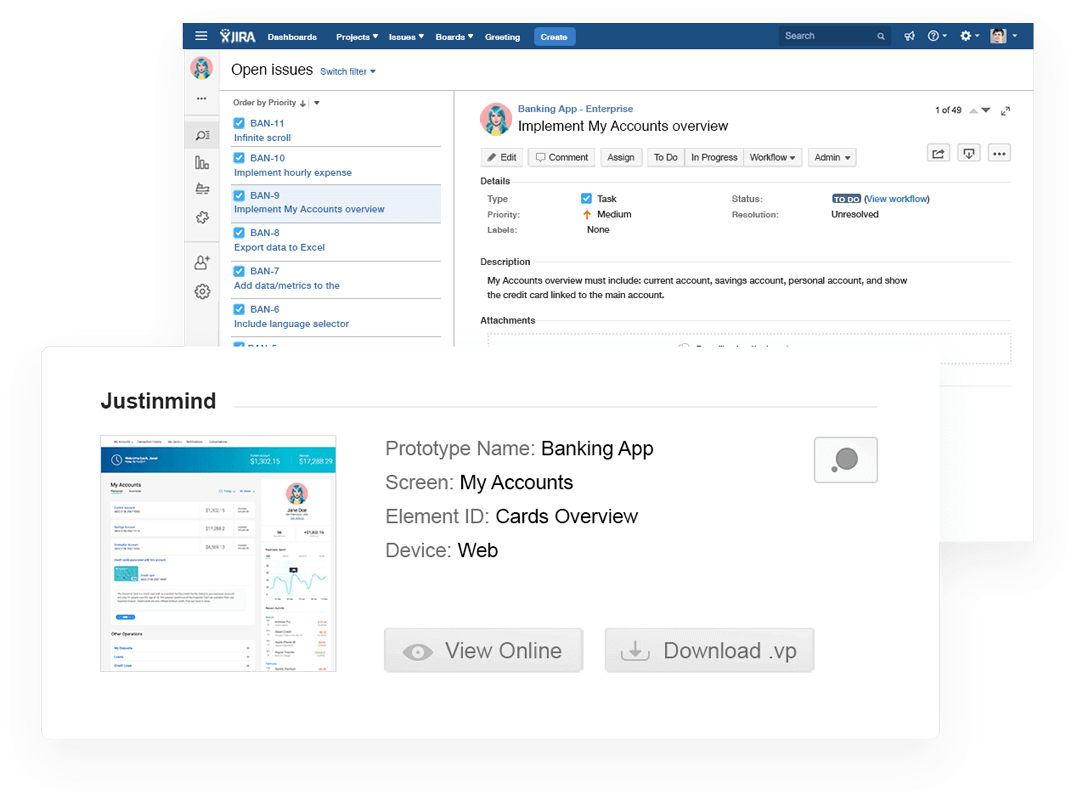 Justinmind JIRA add-on close-up image