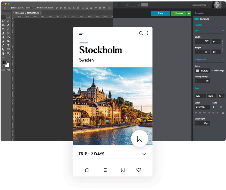 Create interactive PSD mockups with the Justinmind-Photoshop integration