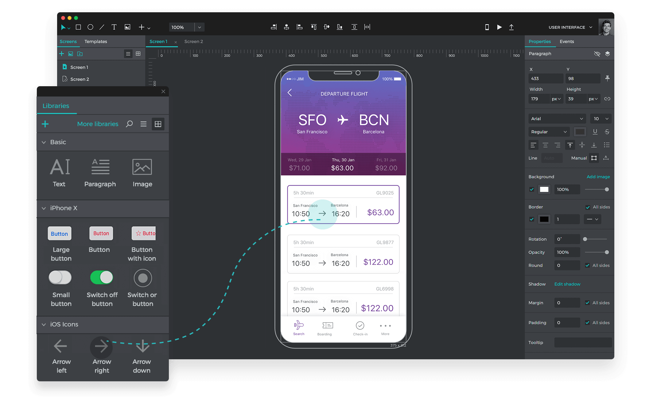 Free prototyping and wireframing tool to design mobile apps