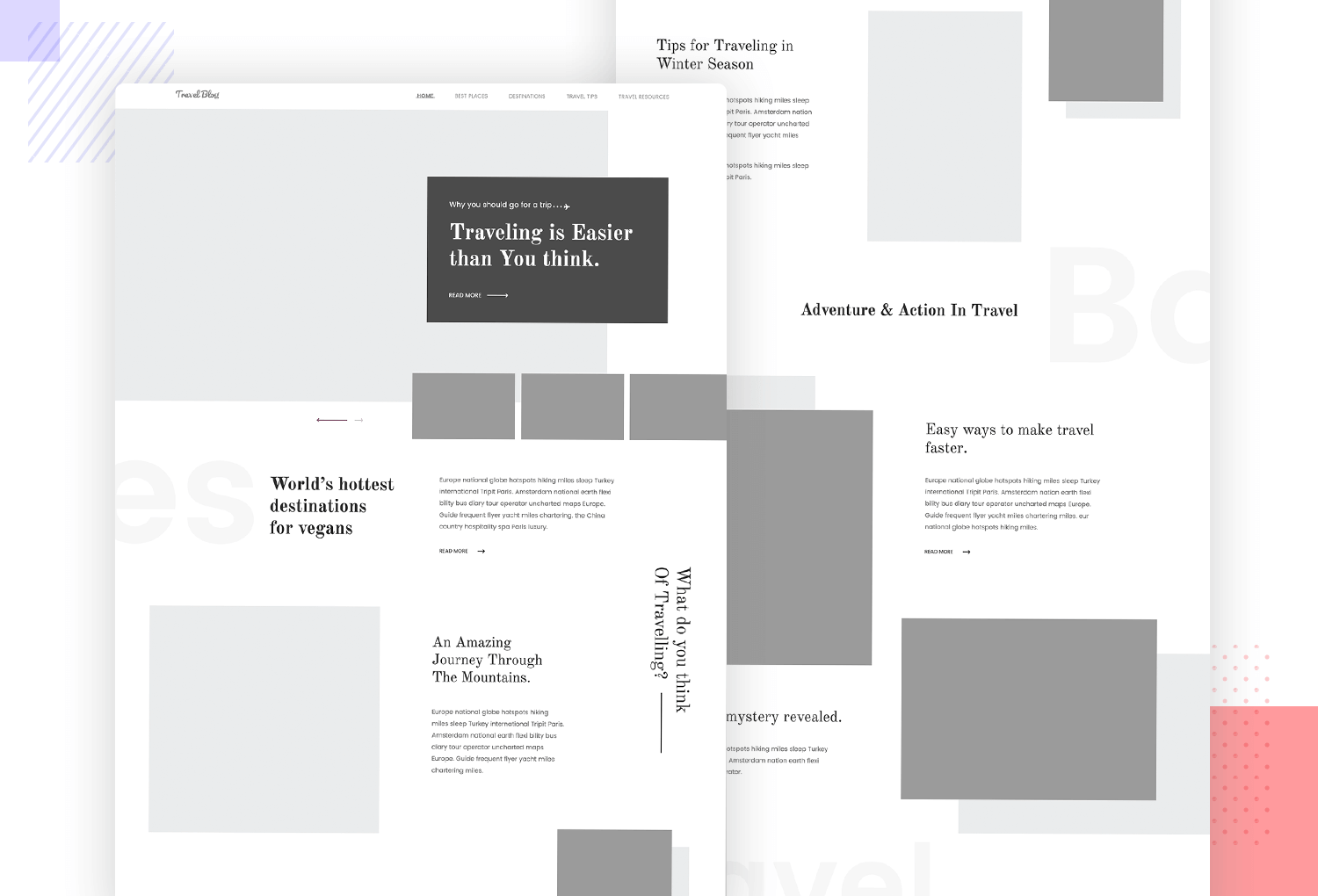 Example of wireframe for landing page - for a travel blog