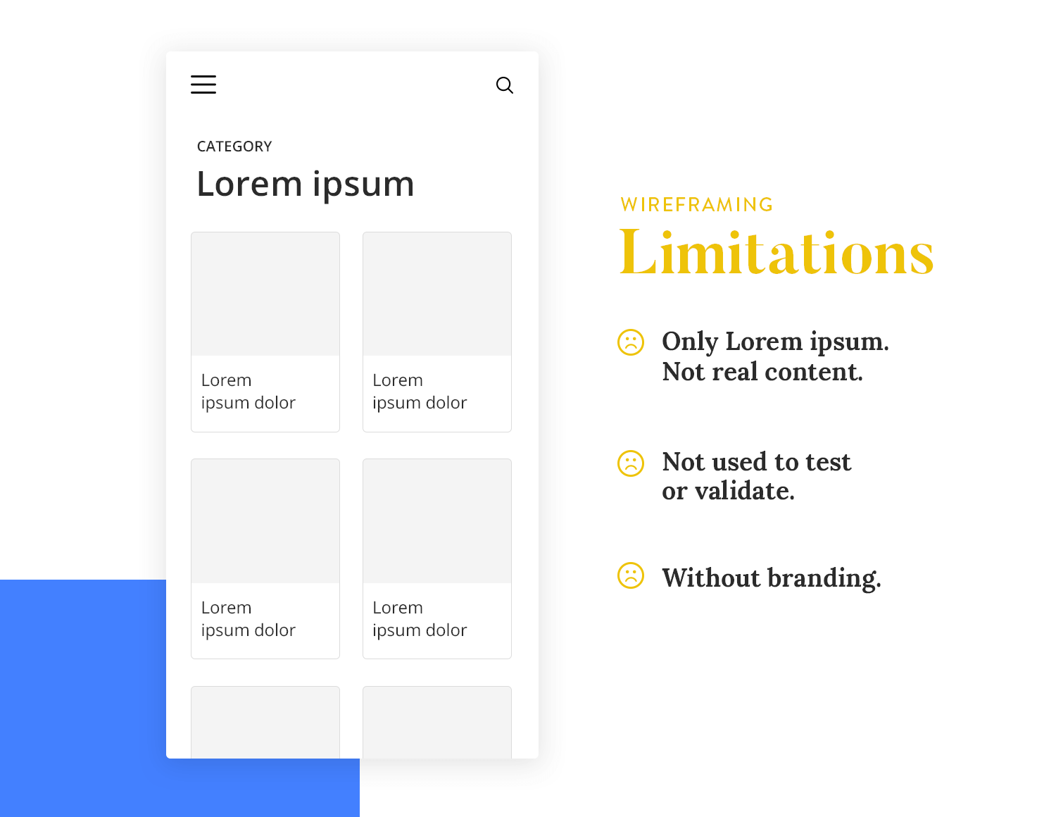 diagram showing limitations of wireframes in ux design