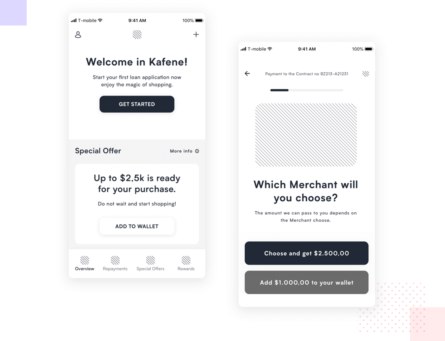 example of loan app wireframe