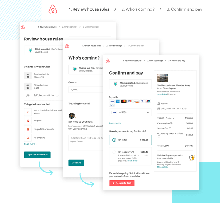 break up long web form designs into several pages - example airbnb