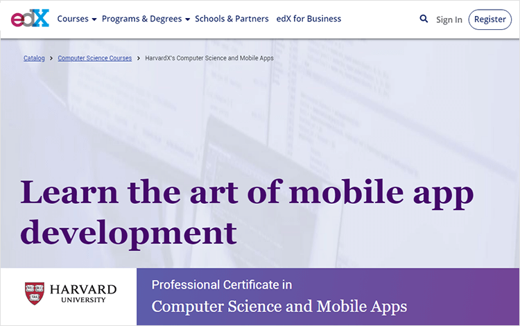 Mobile App Development Courses - Harvard through edX