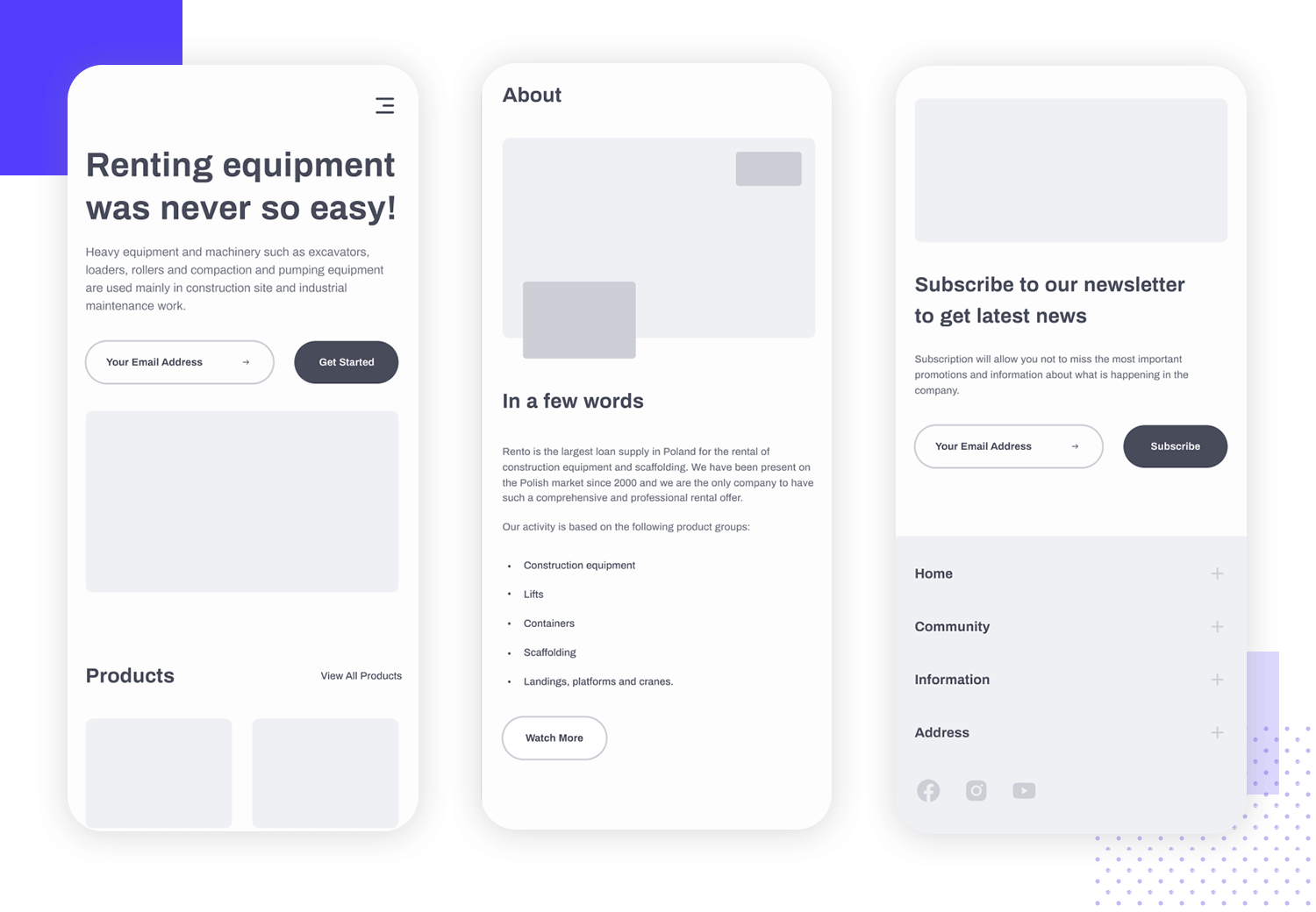 example of mobile app wireframe clean interface