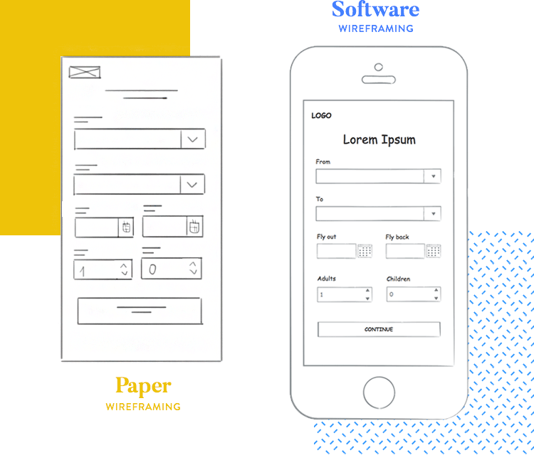 mobile wireframe low fidelity made with sketching ui kit from justinmind