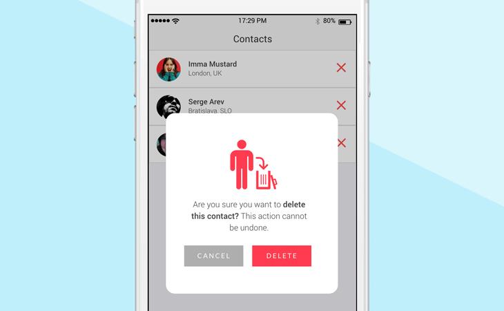 Confirmation pop-up on a mobile app design