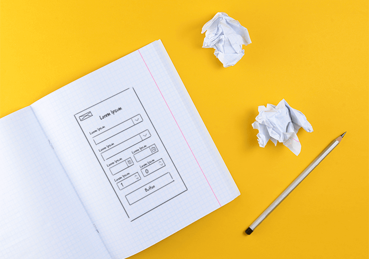 paper wireframes as first step in design process