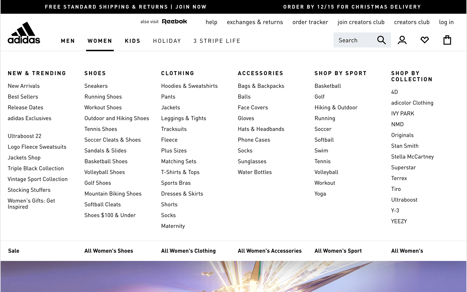 showing example of principle of exemplars for information architecture from adidas website
