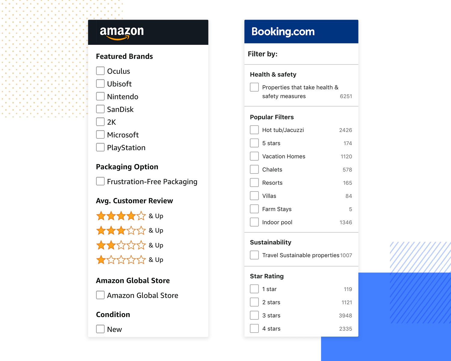 examples of search systems for great information architecture - booking.com and amazon