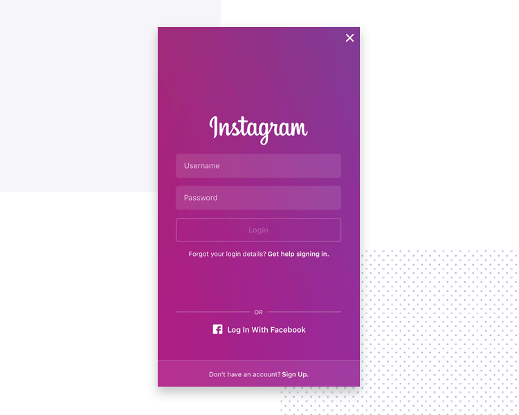 example of short form design - instagram log in screen