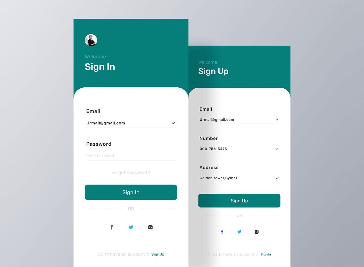 sign in and sign up screens in form examples by sayem ahmed