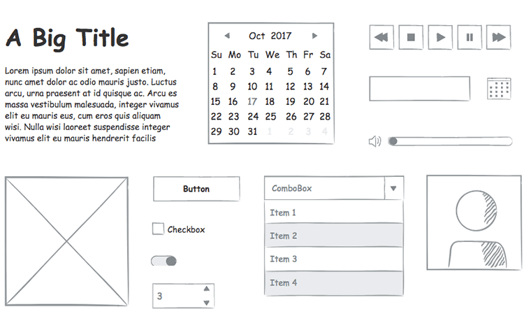view of ui elements in sketching kit for low fidelity wireframes