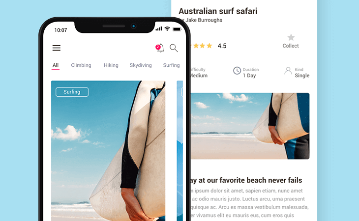 Travel experiences app prototype