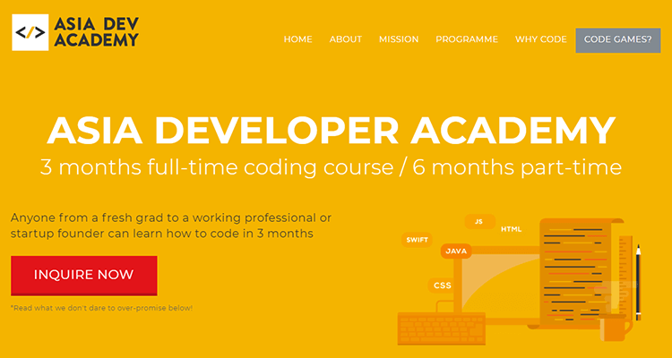 In-class web development course - Asia Dev Academy (Asia)