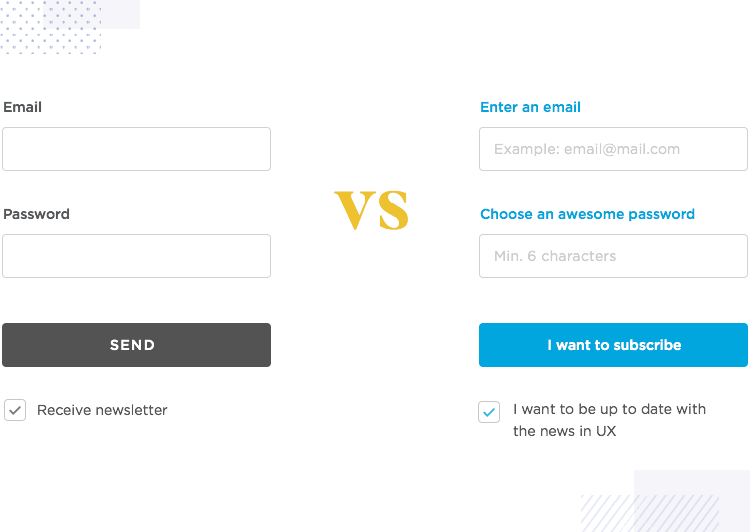 showing examples of bad and good microcopy in web form design