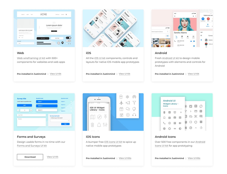 UI component kits for website wireframe design