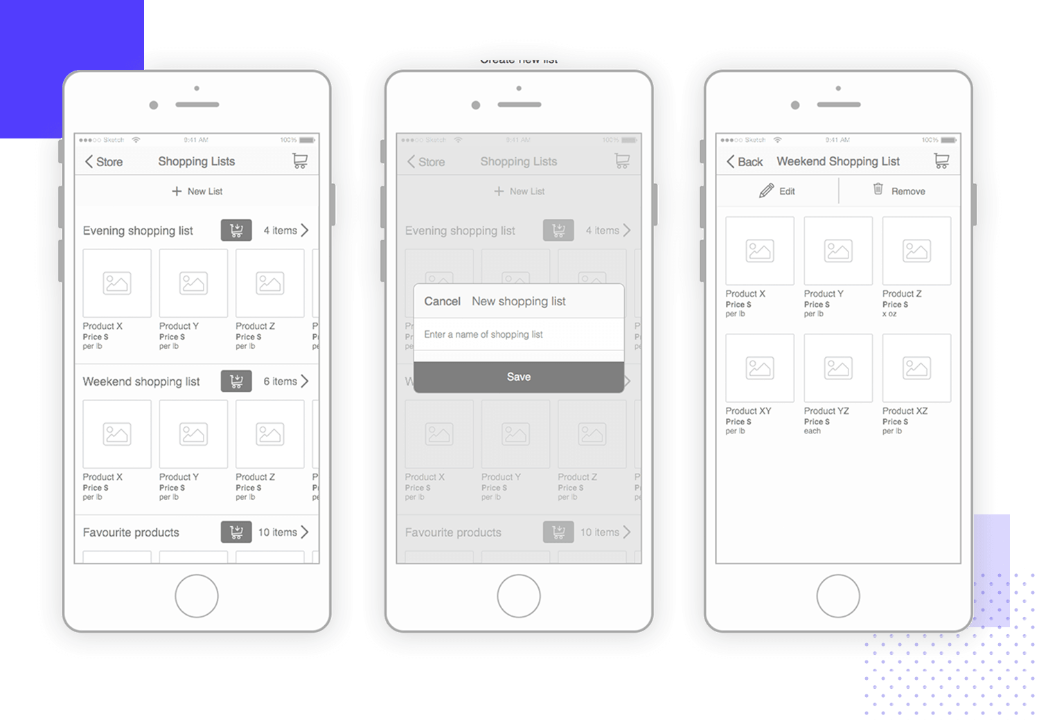 wireframe mobile app-examples ecommerce