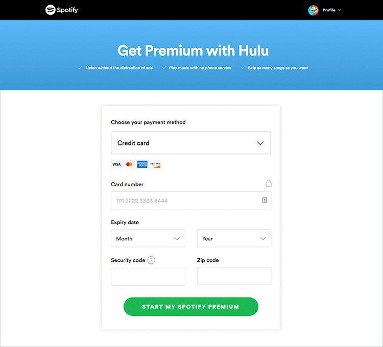 spotify subscription example of descriptive copy when prototyping forms
