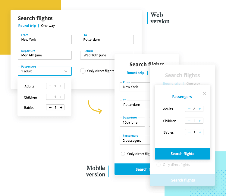 example of difference for web and mobile form design