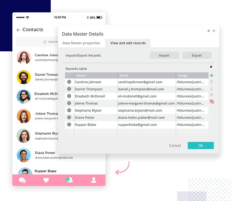 Use data masters with the Justinmind mockup tool