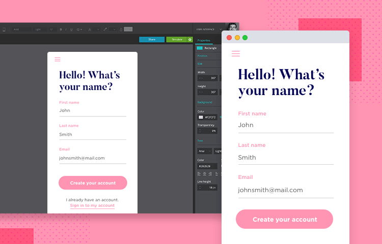 Create highly interactive mockups with the Justinmind mockup tool