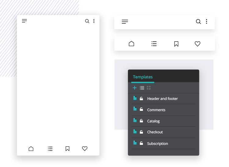 Justinmind mockup tool - create templates to use throughout your mockup