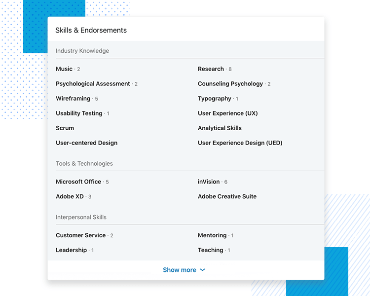 LinkedIn UX designer profiles - Skills & Endorsements