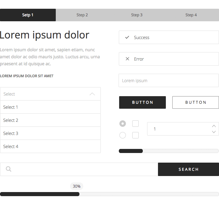 example of UI component kit for form design: wireframing