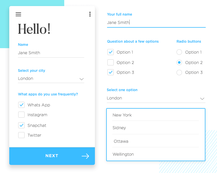 example of ui components used in form design