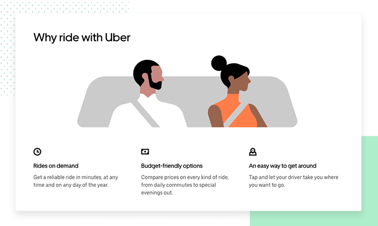 showing of how uber uses data in its UX research - uber design