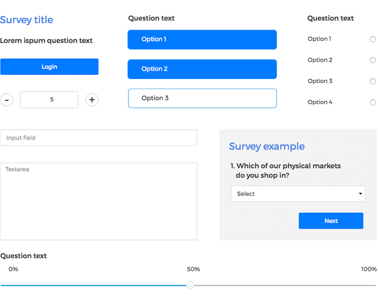 Justinmind Forms and Surveys UI kit - sign in, sign up surveys, credit card forms and more