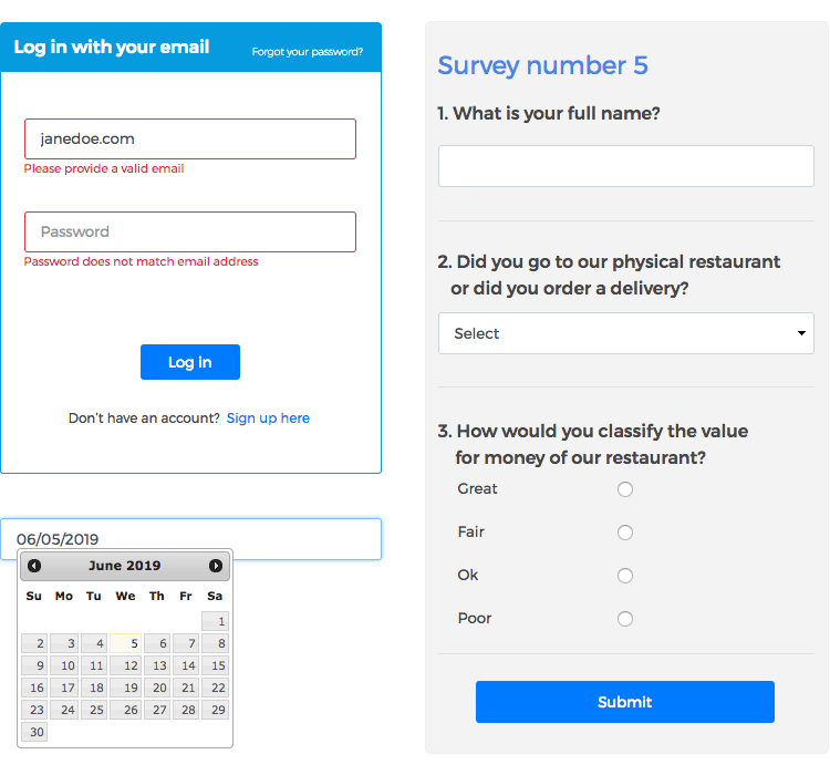 Justinmind Forms and Surveys UI kit - built-in validation to help users correct erros
